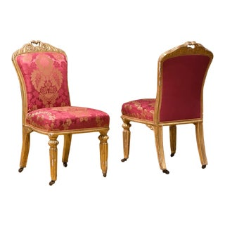 Italian Side Chairs With Gilded Frame - a Pair For Sale
