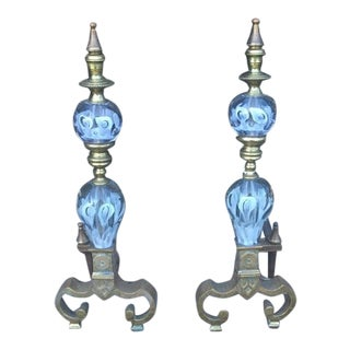 Brass & Art Glass Andiron Set