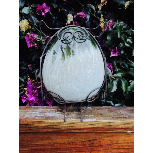 Ceramic Glazed Owl on Wire Stand - Image 6 of 10