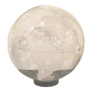 Mid-Century Modern Vintage Clear and Frosted Lucite World Globe