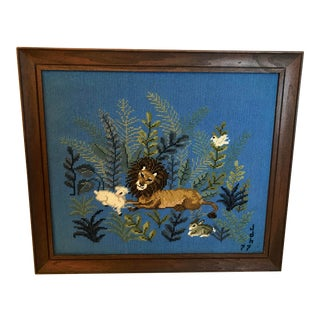 Late 20th Century Hand Made Framed Needlepoint Art For Sale