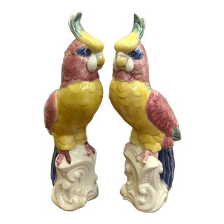 Vintage Ceramic Parrots, a Pair For Sale