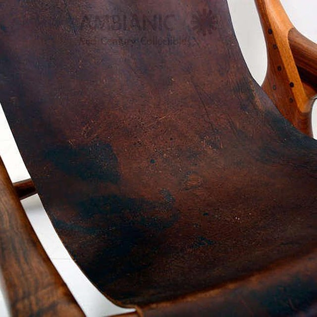 Animal Skin Sling Chair Attributed to Don Shoemaker For Sale - Image 7 of 11