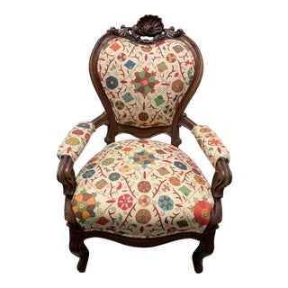 Late 19th Century Suzani Linen Reinvented French Provincial Chair For Sale
