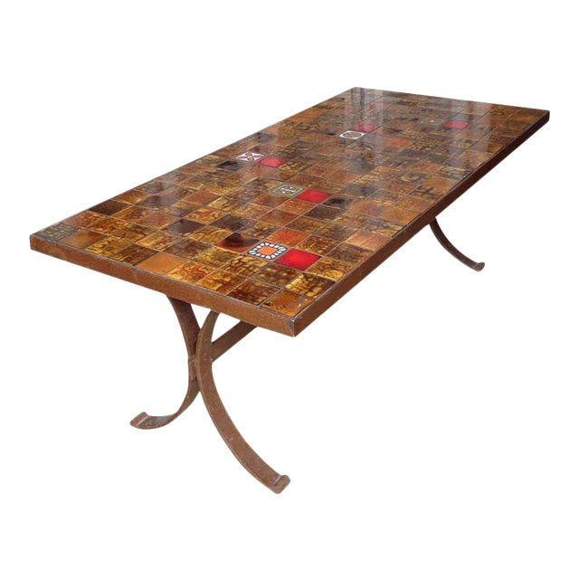 French 1960s Dining Table With Ceramic Tiled Top - Image 1 of 11