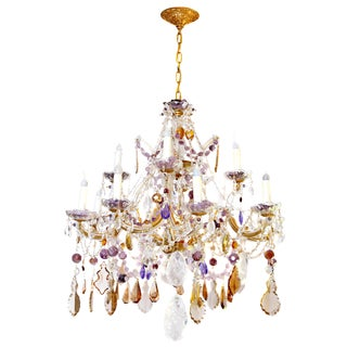Hollywood Regency Amethyst Crystal Chandelier