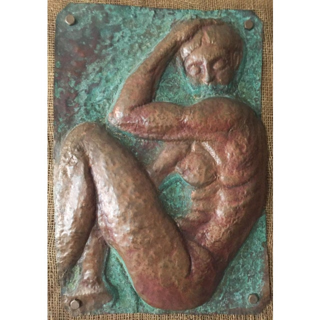 This piece of mid century art is so unusual and striking. A raised, molded or pounded copper relief of a nude woman,...