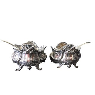 Silver Salt & Pepper Containers Pair