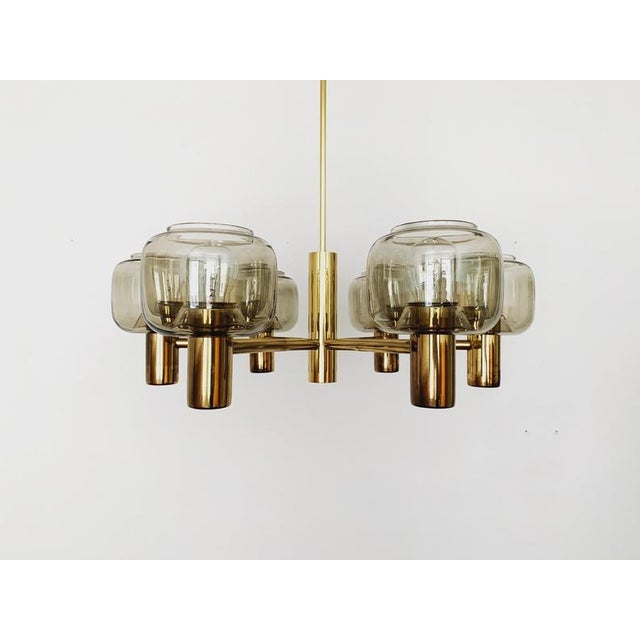 Metal Mid-Century Modern Brass and Smoked Glass Chandelier For Sale - Image 7 of 7