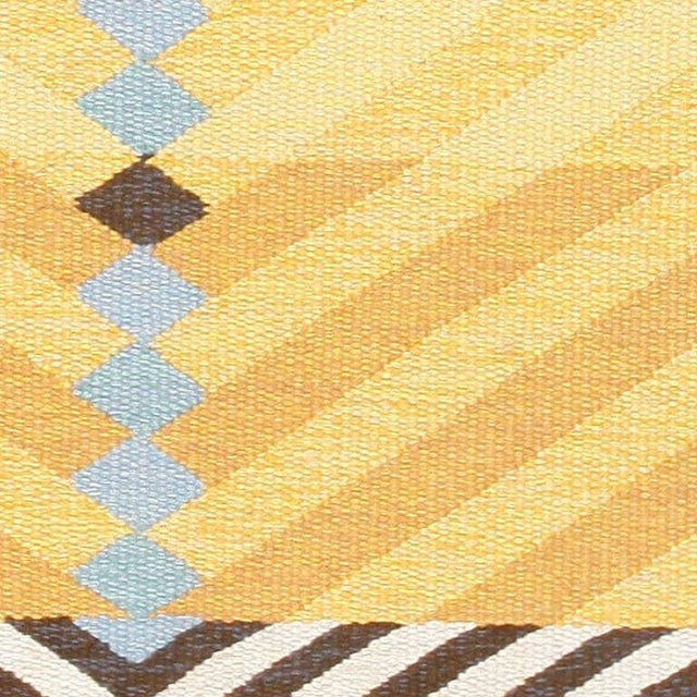 Vintage Scandinavian Yellow and Gold Rug - 5′5″ × 7′9″ For Sale In New York - Image 6 of 7