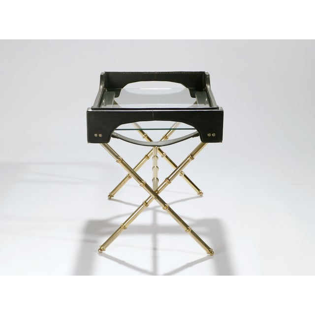 Black Jacques Adnet Leather and Brass Side Table With Tray, 1950s For Sale - Image 8 of 13