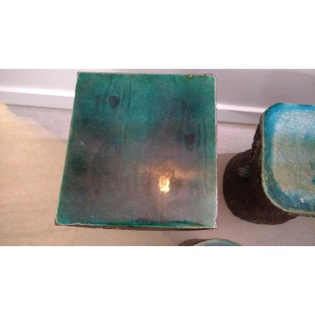 Wood 1960s Vintage Art Nouveau Ceramic Tree Trunk End Tables- Set of 3 For Sale - Image 7 of 12