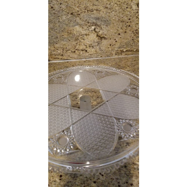 Vintage Frosted & Cut Glass Stemmed Cake Plate For Sale - Image 4 of 10