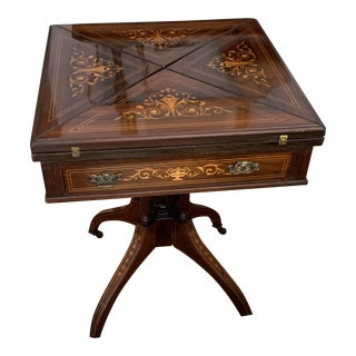 Antique Inlaid Envelope Table For Sale