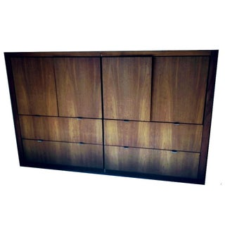 1970s Danish Modern Dillingham Walnut Conjoined Twin Enclosed Storage Cabinets - a Pair Preview