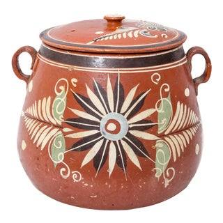 Terra Cotta Large Vintage Mexican Redware Lidded Pot For Sale