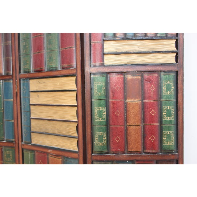 1970s Vintage Trompe l'Oeil Folding Screen- Library Bas Relief Room Divider For Sale - Image 5 of 9