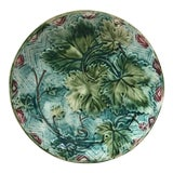 Image of French Majolica Grape Leaves Plate Onnaing, Circa 1900 For Sale