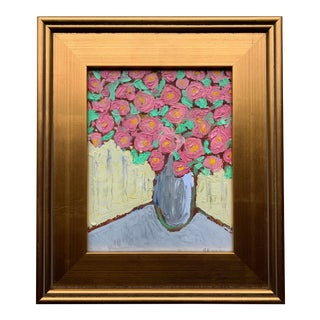 Original Contemporary Alexandra Brown Still Life With Pink Roses Oil Painting Framed For Sale