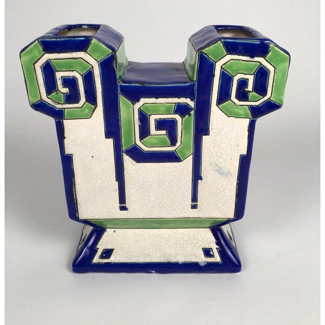 Art Deco Boch Freres Art Deco Geometric Ceramic Vase For Sale - Image 3 of 9