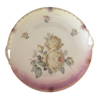 Early 20th Century Antique Porcelain Fine China Handled Plate For Sale