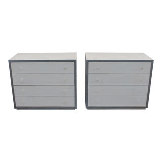 1970s Mid Century Modern Ultra White Bachelors Chests/ Large Nightstands - a Pair For Sale