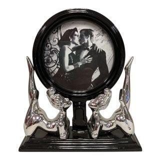 Vintage Fitz & Floyd Black Deco Silver Nudes Desk Frame For Sale