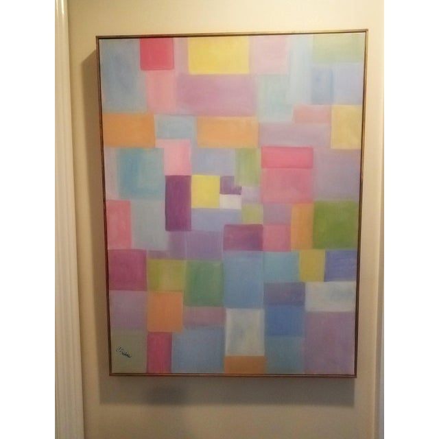 """Blue Original Contemporary """"Patchwork"""" Oil Painting by Christine Frisbee For Sale - Image 8 of 8"""