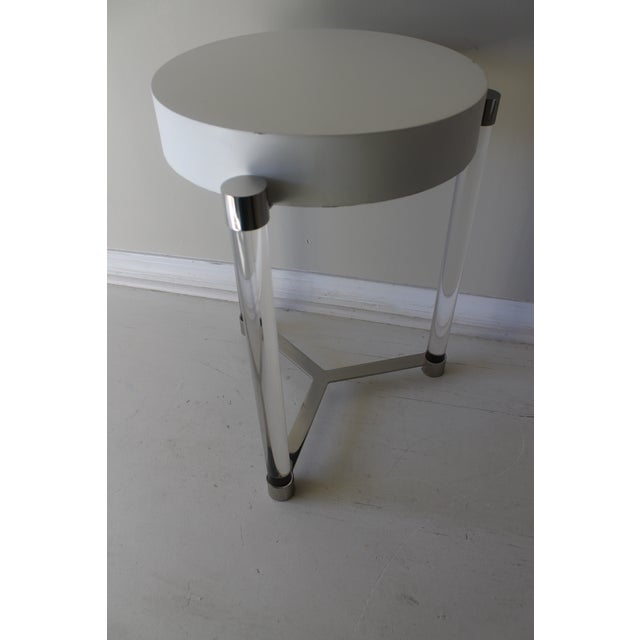 Plastic Mid-Century Modern Port 68 Maxwell White/ Gold Accent Table For Sale - Image 7 of 7