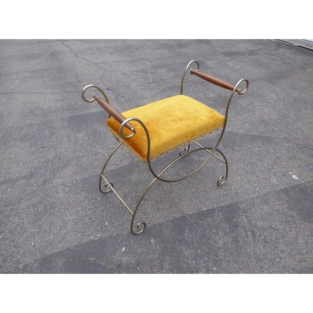 Vintage Hollywood Regency Gold Velvet Vanity Chair - Image 5 of 10