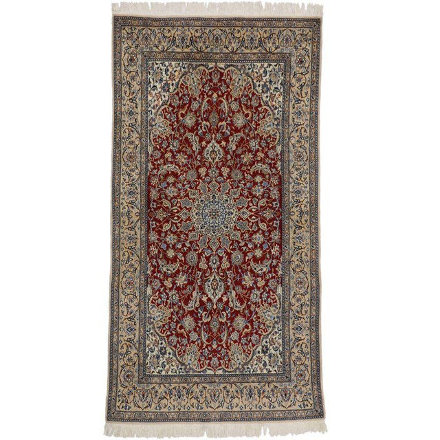 Mid 20th Century Vintage Persian Nain Rug With Traditional Style - 03'09 X 07'03 For Sale - Image 5 of 5
