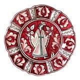 Image of Vintage Red White Sberna Deruta Italian Pottery Decorative Plate For Sale