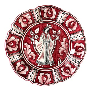Vintage Red White Sberna Deruta Italian Pottery Decorative Plate For Sale