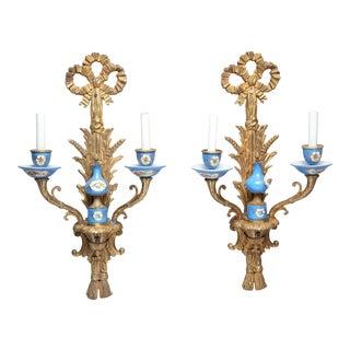 Sevres Manner Porcelain & Gilt Brass Sconces For Sale