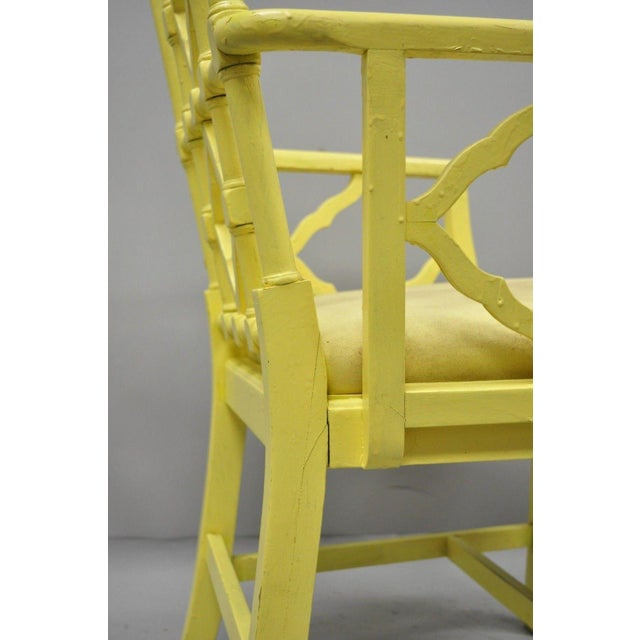 Yellow Chinoiserie Hollywood Regency Yellow Fretwork Armchairs - a Pair For Sale - Image 8 of 11