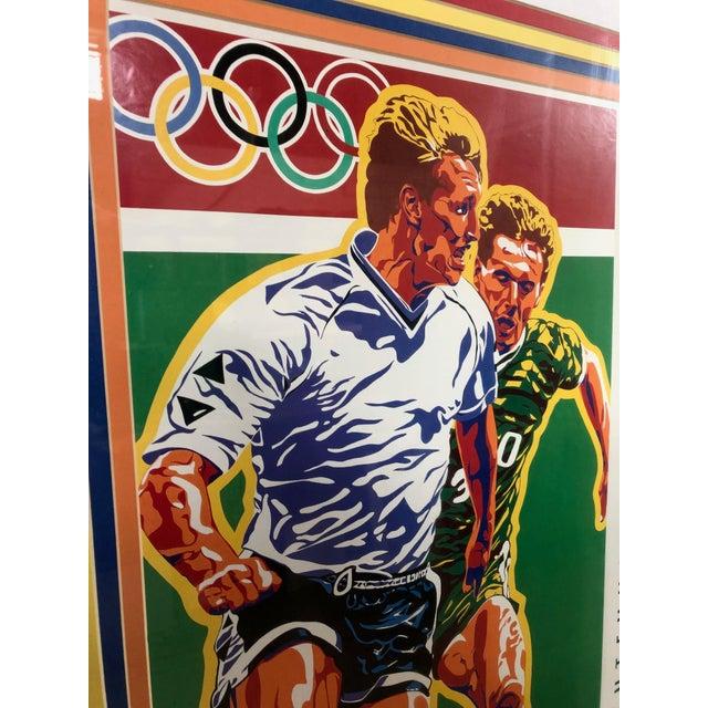 1990s Vintage Original Atlanta Summer Olympics Framed Soccer Poster For Sale - Image 4 of 10