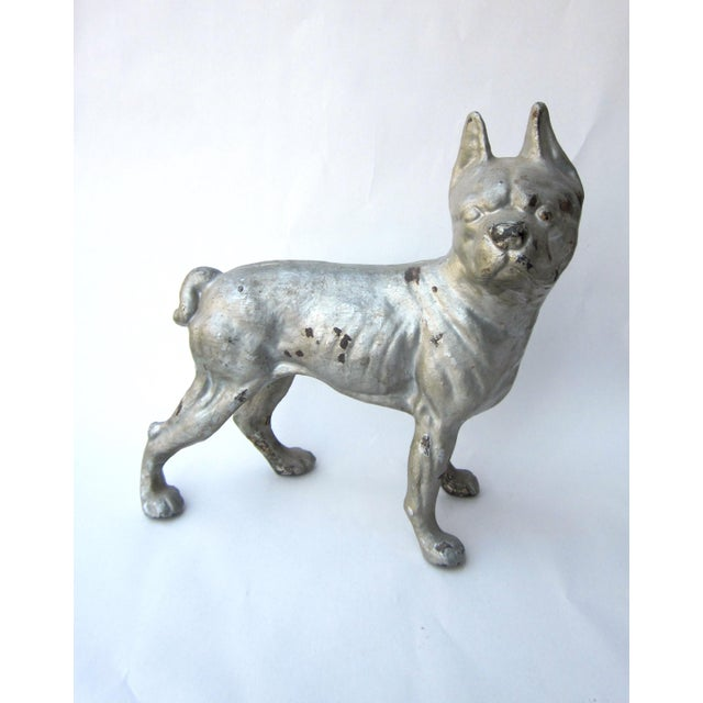 Silver 1930s Vintage Cast Iron Boston Terrier Doorstop / Figurine For Sale - Image 8 of 8