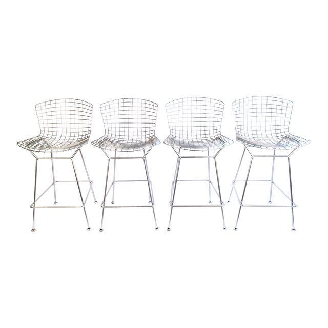 Harry Bertoia Knoll Signed Chrome Bar Counter Stools - Set of 4 - Image 1 of 7