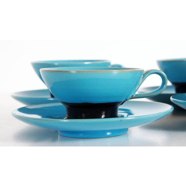 Stunning Set of 4 vintage c.1950's teacups & saucers by Bjorn Wiinblad of Denmark! Great vibrant robins egg blue base with...