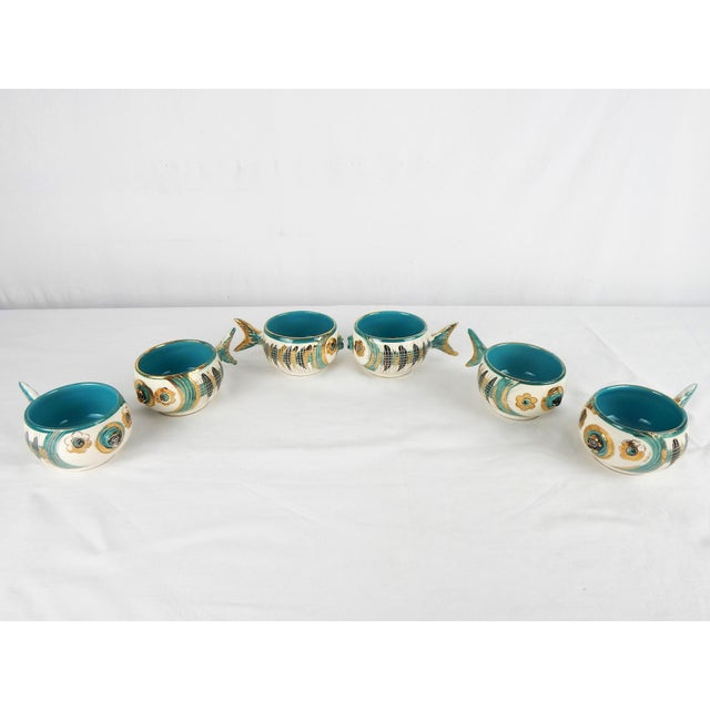 Metal Rare Bitossi Fish Cups, S/6 For Sale - Image 7 of 11
