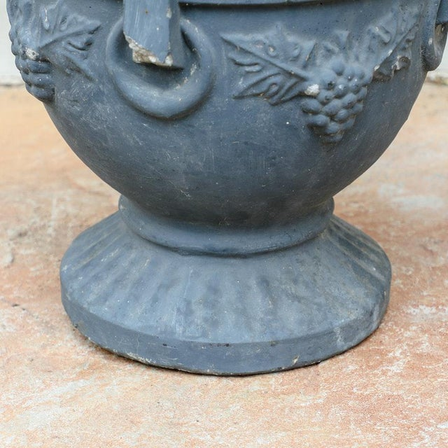 20th Century Neoclassical Greek Key & Grape Vine Cement Pedestal Garden Planter For Sale In Palm Springs - Image 6 of 9