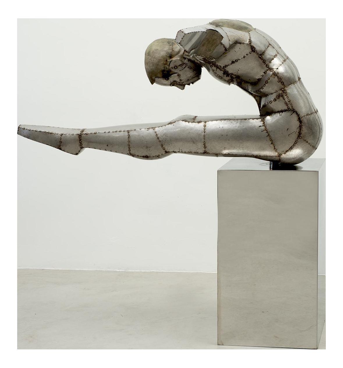 distinguished france  20th century welded sheet metal sculpture  u201cthe diver u201d