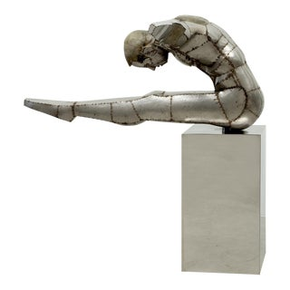 "Monumental Welded Sheet Metal Sculpture ""The Diver"", France, 20th Century For Sale"