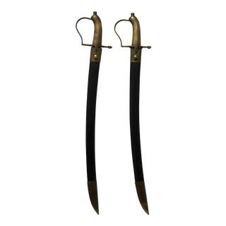 Late 19th Century Brass and Steel Swords With Leather Scabbard - a Pair For Sale