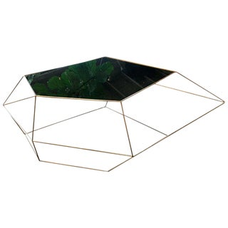MA+39 Italian Rhomboidal Sculptural Brass and Glass Coffee Table For Sale