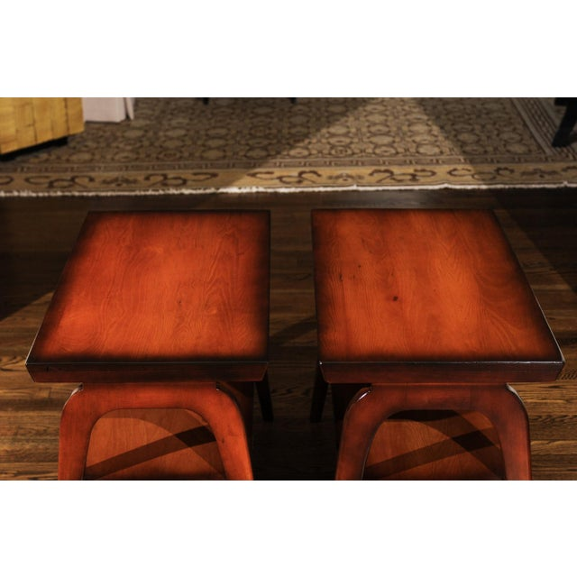 An exceptional pair of vintage end tables from a nearly impossible to find series. These unusual examples are a part of...