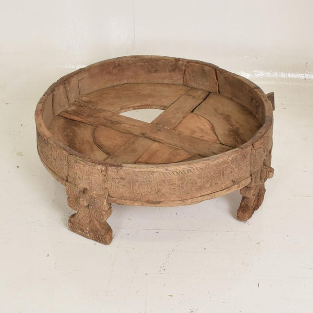 Antique Wood Planter Base for Outdoor Patio, Rice Water Table For Sale - Image 4 of 8