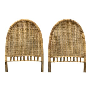 Vintage Rattan Arch-Shaped Twin Headboards For Sale