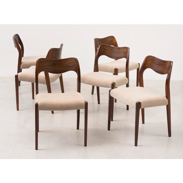 Set of Six Niels Moller Dining Chairs Model #71 in Rosewood and Velvet Mohair For Sale - Image 11 of 11
