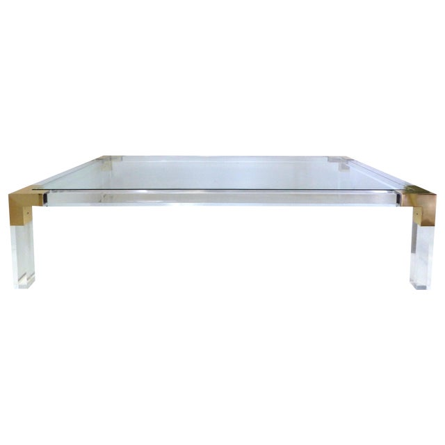 Charles Hollis Jones Lucite & Brass Coffee Table - Image 1 of 8